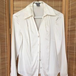 Ann Taylor Silk Blouse white long sleeves Size 0P